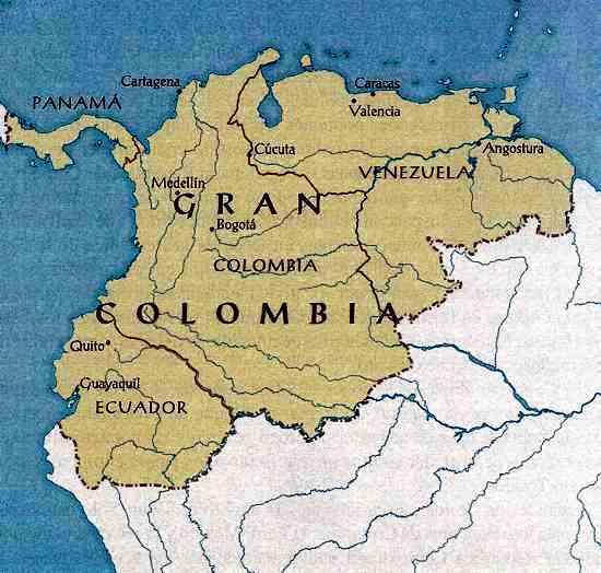 Mapa de Colombia en la Gran Colombia