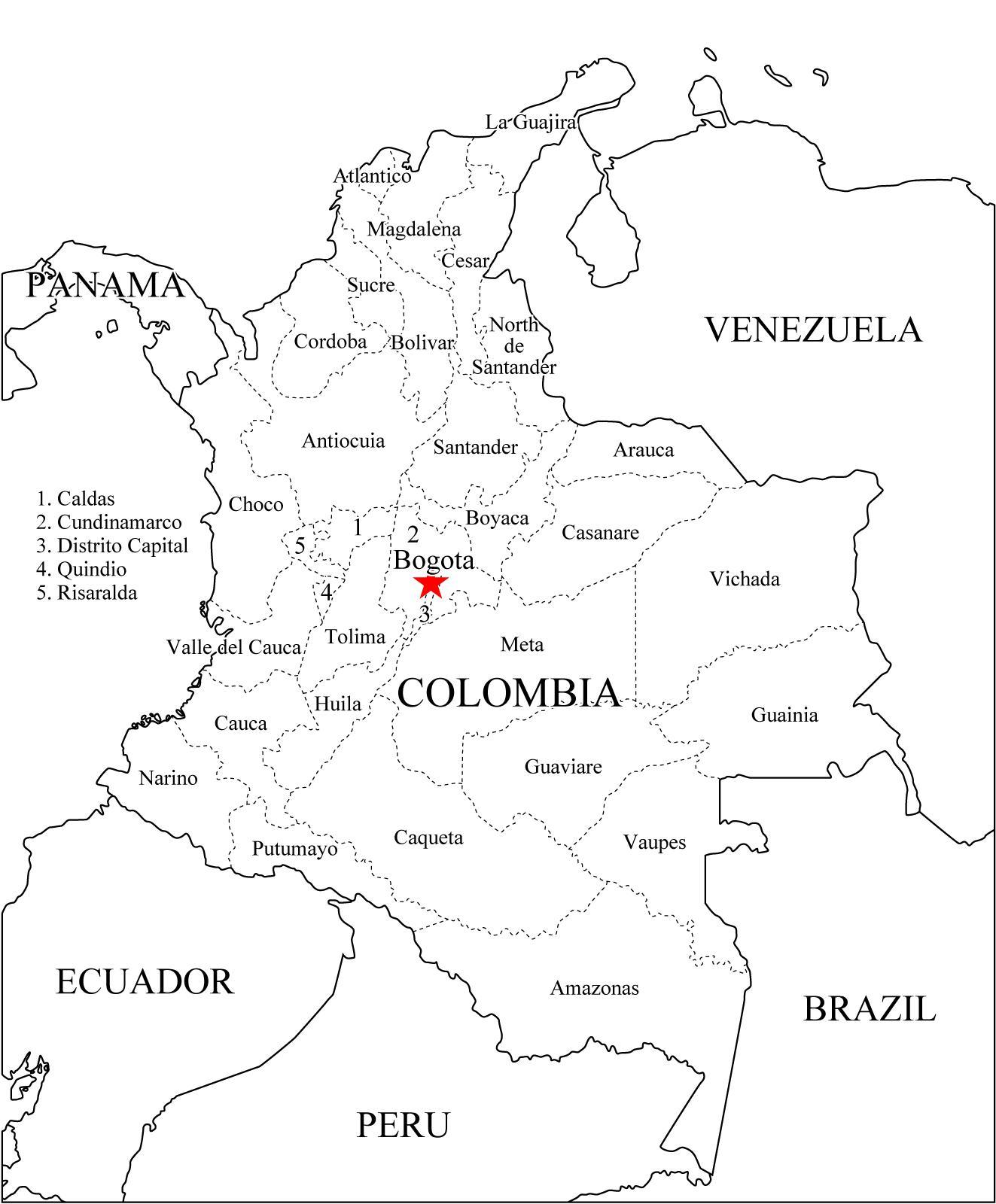 Mapa de Colombia para colorear - Mapa de Colombia