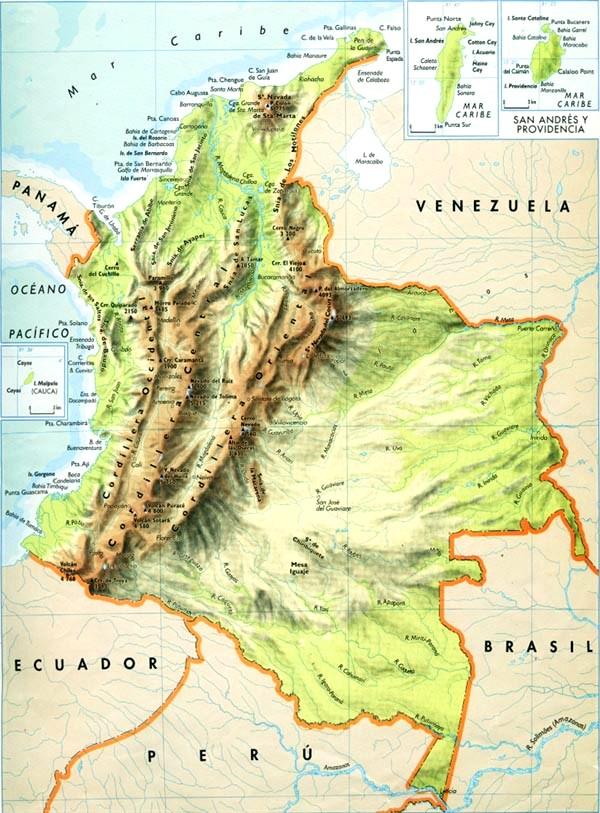 Mapa de relieve de Colombia  Mapa de Colombia