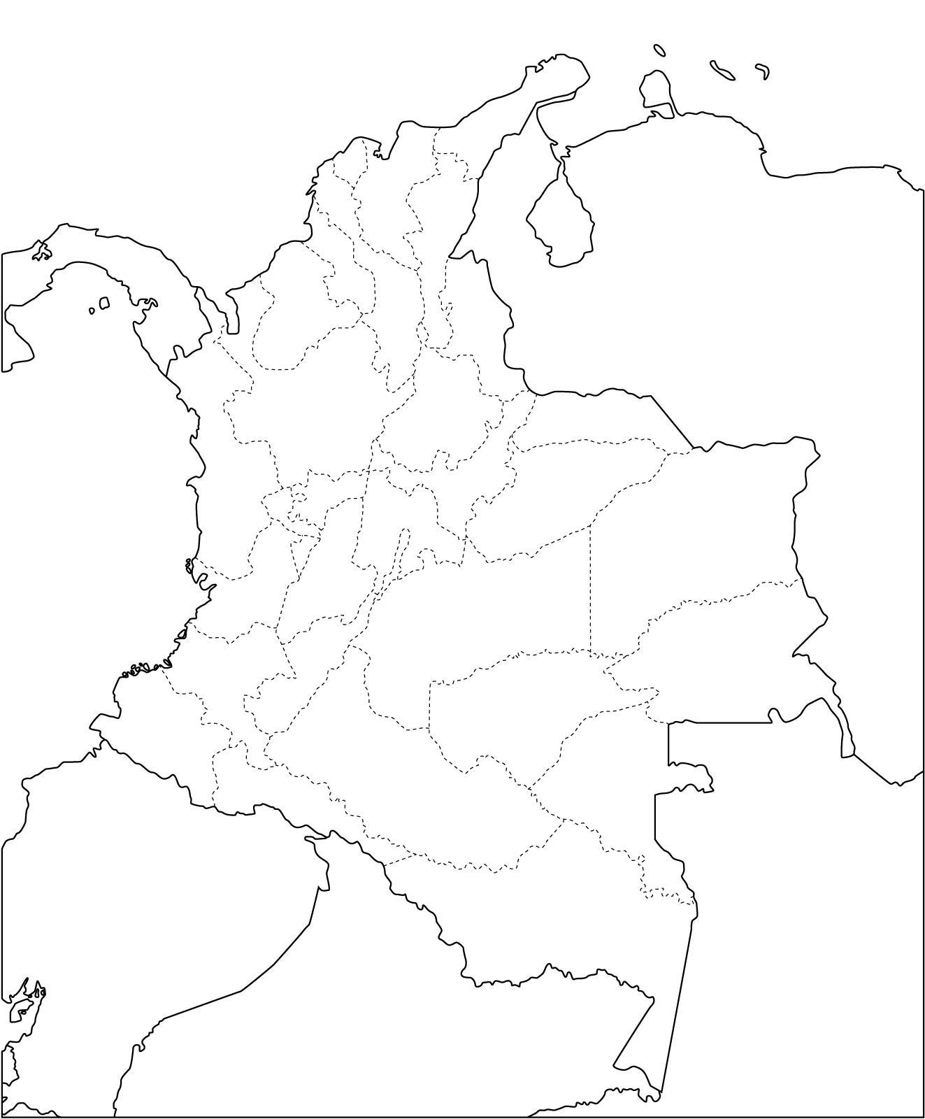 Mapa mudo de Colombia Mapa de Colombia