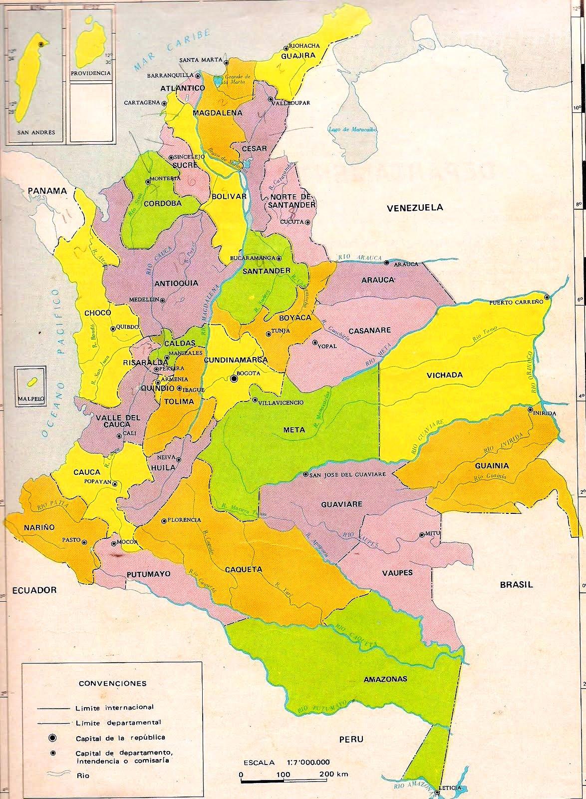 Mapa poltico de Colombia Mapa de Colombia