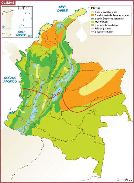 Mapa de zonas climáticas de Colombia