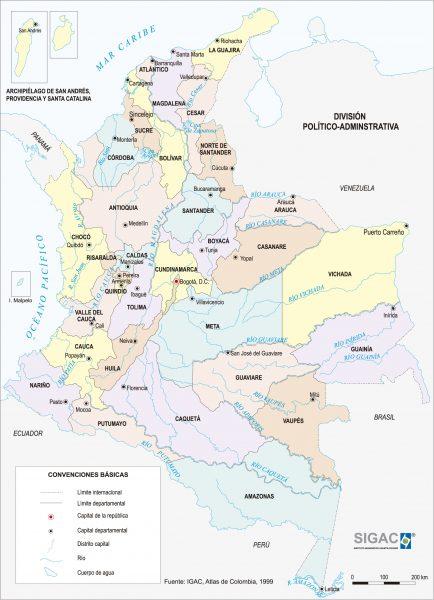 Mapa de Colombia con ciudades importantes