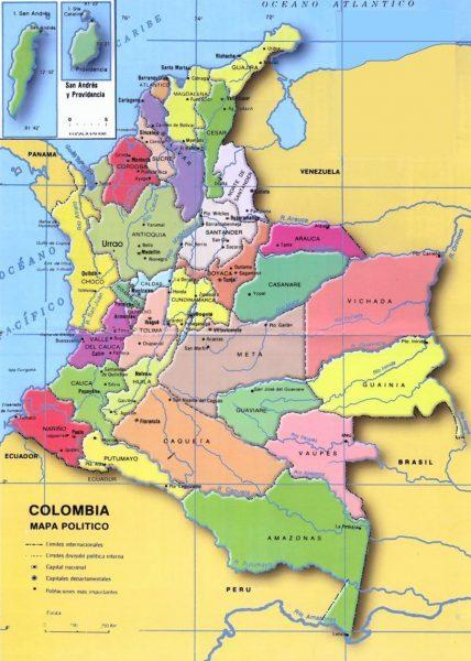 Mapa de Colombia con sus capitales