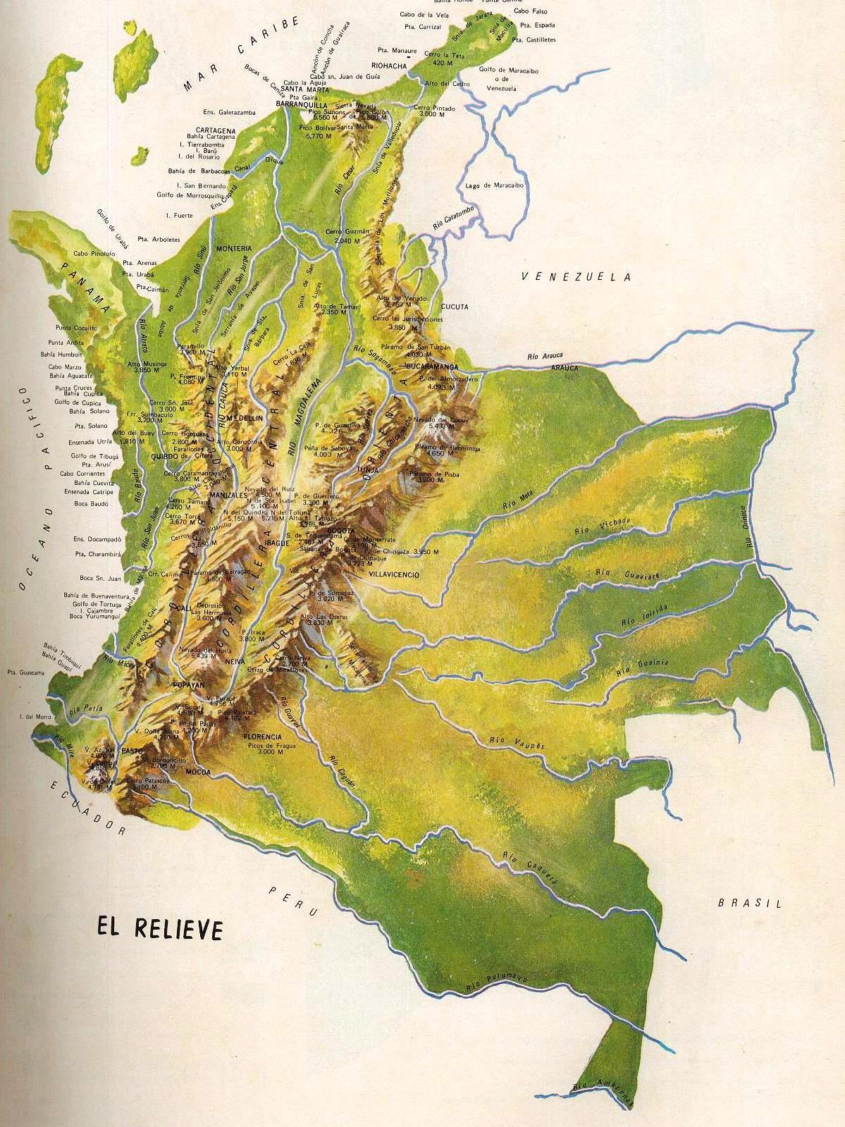 mapa de colombia con sus cordilleras mapa de colombia