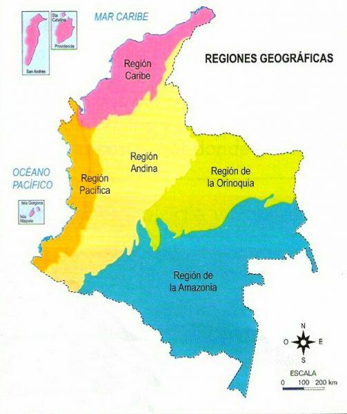Mapa de Colombia con sus regiones