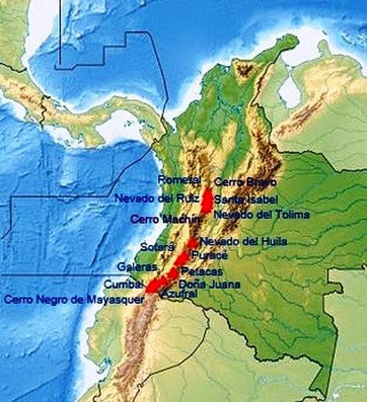 Mapa de Colombia con sus volcanes