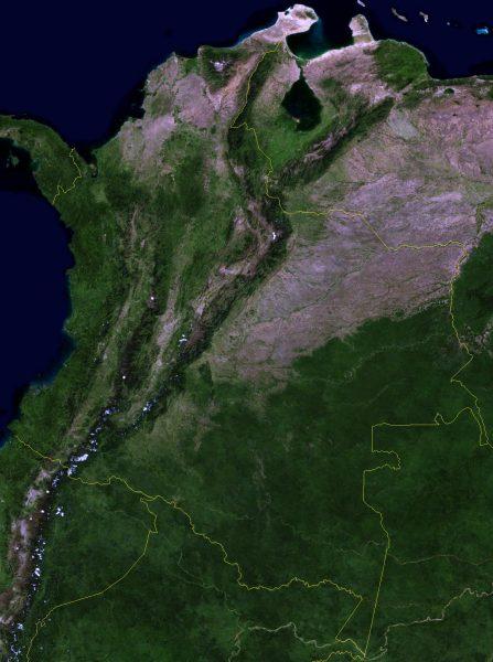Mapa de satélite de Colombia