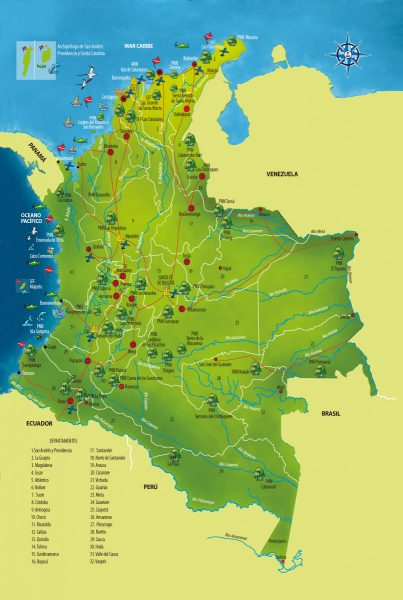 Mapa turístico de Colombia