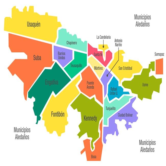 mapa de la ciudad capital de colombia