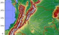 Mapa topográfico de Colombia